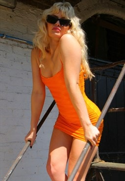 Orange Ribbed Mini Dress