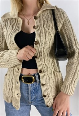 90s Vintage Beige Wool Thick Cable Knitted Cardigan