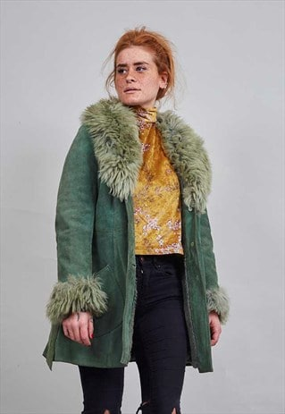 APPLE GREEN 70'S VINTAGE SHEEPSKIN COAT