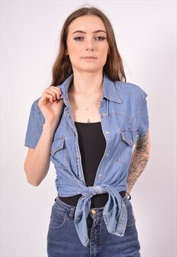 Vintage Moschino Denim Shirt Blue