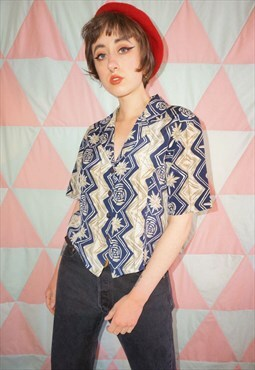 Vintage 90s Blue and Beige Cropped Patterned Shirt