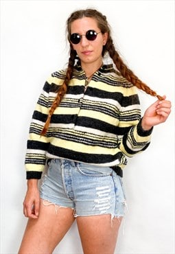 VINTAGE 80's Grey & Yellow Stripe Button Up Jumper
