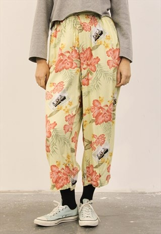 VINTAGE HIGH-WAISTED YELLOW FLORAL PATTERNED TROUSERS