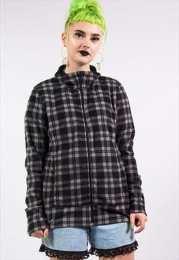 90's Vintage Check Lightweight Fleece Jacket
