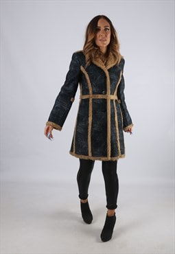Vintage Faux Suede 'Sheepskin Style' Coat Faux Fur UK 8 (J2M