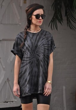 Oversize Black Grey Tie Dye Summer festival T shirt top
