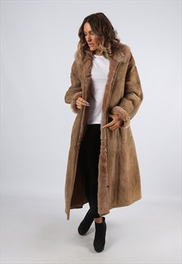 Sheepskin Suede Leather Shearling Long Coat UK 16 (G9BB)