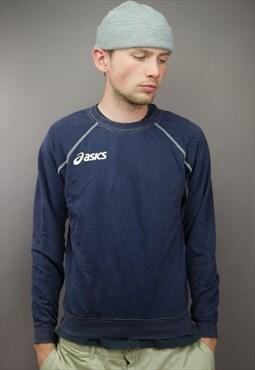 Vintage Asics Sweatshirt in Blue with Logo