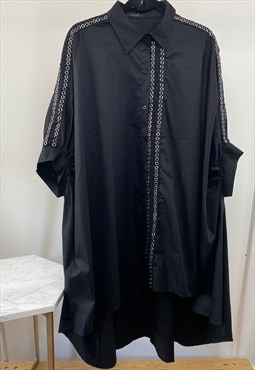 Eyelet embellished Oversized Shirt dress in Black