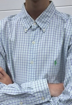 Mens Ralph Lauren shirt in green blue checked pattern
