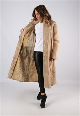 Sheepskin Suede Leather Shearling Coat UK 16 XL (C9DH)