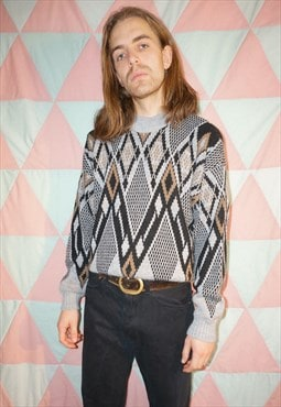 Vintage 80s Grey / Black Geometric Diamond Pattern Jumper