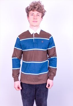 Vintage Timberland Striped Rugby Polo Shirt in Blue & Brown