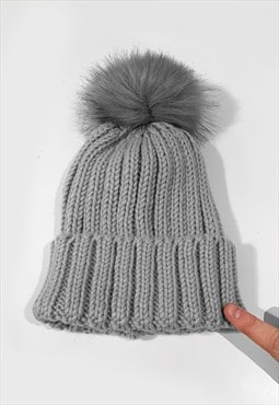 Faux Fur Bobble Knitted Ribbed Beanie Hat - Grey Silver