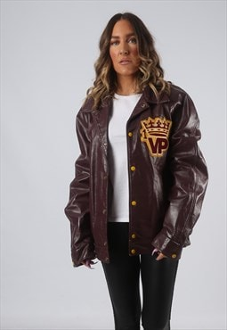 RARE Leather Jacket Bomber Oversized VARSITY UK 14 16 (CK7I)