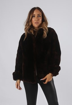 Vintage Faux Fur Coat Jacket Short UK S 10  (9BO)