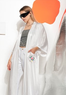 Satin kimono 90s vintage Chinese embroidered robe in white