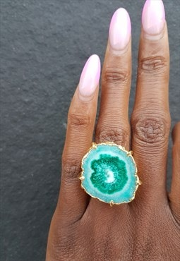 Green 'solar power'  gold  gemstone statement ring