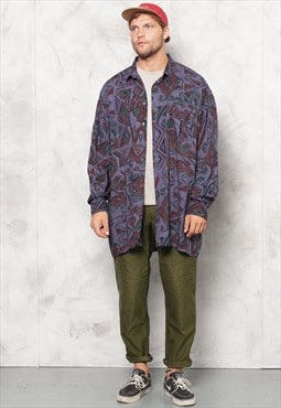 Purple Aztec Vintage 90s Men Shirt