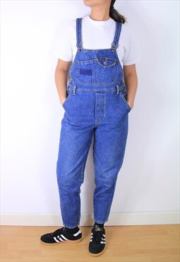 Vintage fitted tapered leg 90s denim dungarees in mid blue