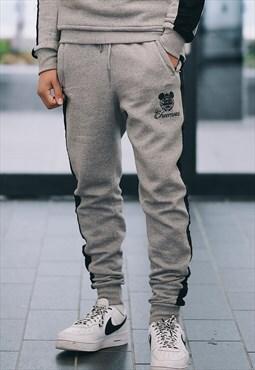 Smoke Grey Velour Stripe Jogger Trousers