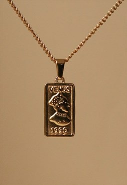 Gold Venus 1990 Medallion Pendant Necklace
