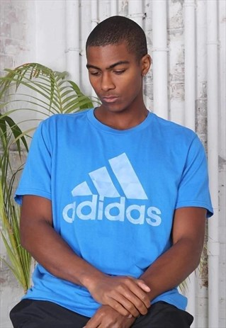 Vintage Adidas Big Logo T-Shirt Blue