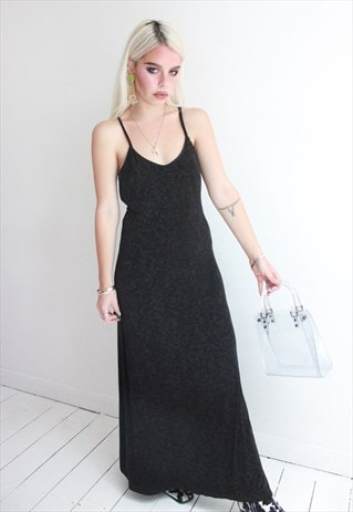 VINTAGE 90S LONG BLACK STRAPPY DRESS