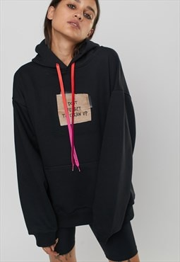 Printed Oversized Hoody With TRASH print in Black
