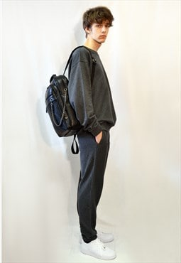 Cotton fleece tracksuit with blue line design in grey