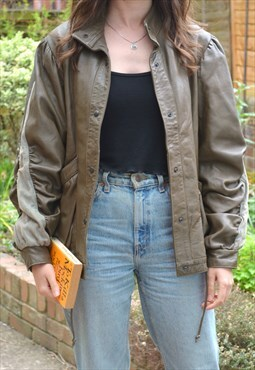 1980s Vintage Brown Leather Arm Stripe Bomber Jacket