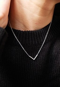 V Chevron Chain Necklace Women Sterling Silver Necklace
