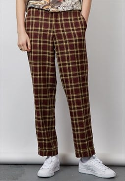 Vintage 90's burgundy check trousers