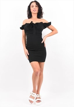 Black Tie Front Bardot Milkmaid Dress