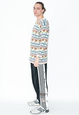Vintage 90s geometric print warm jumper in multi color