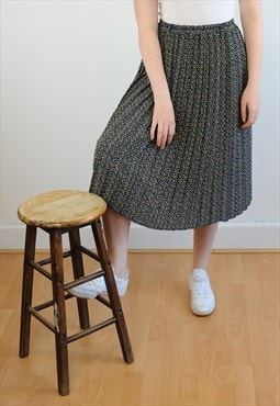 Womens Vintage 80s skirt patterned pleated high waist skirt