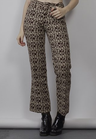 VINTAGE 70'S PATTERNED BROWN FLARED TROUSERS