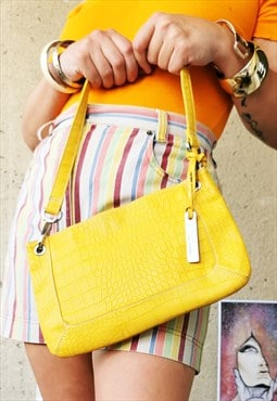 Vintage 90's yellow faux reptile leather shoulder bag