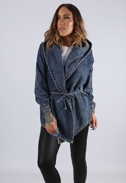 Vintage Denim Wrap Jacket Long Hooded ACID WASH  (J2T)