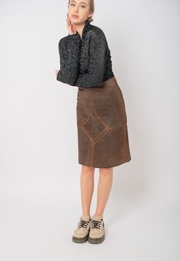 Vintage Y2K Highwaisted Patchwork Leather Skirt in Brown S