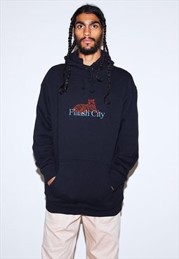 Hoodie in Black with Embroidered Tiger
