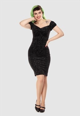 Dolores Evening Sequin Midi Dress In Black Velvet