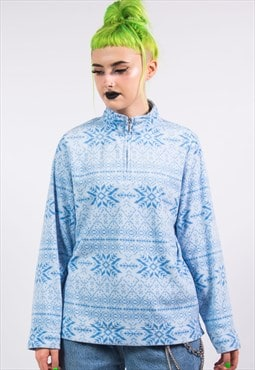 Vintage 90's Light Blue Fairisle 1/4 Zip Fleece