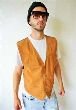 Vintage Suede Leather Casual Vest Top Brown Biker Rocker