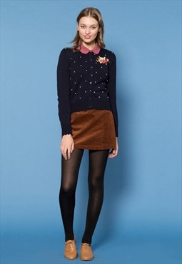 Navy Bobble Polka Dot Cardigan