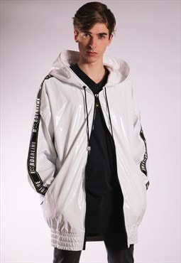 Unisex Oversized White Vinyl Jacket