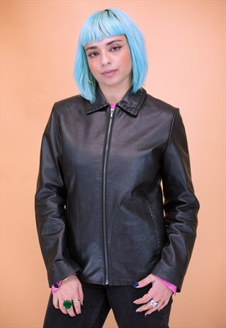 Vintage Y2K Fitter Black Leather Jacket