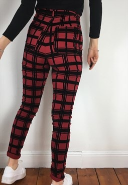 Vintage Tartan Checked Super High Waisted Slim Trousers