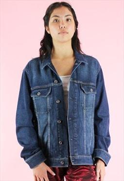 Vintage 90s Denim Jacket Y2K Dark Blue Festival
