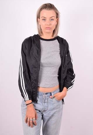 ADIDAS WOMENS VINTAGE RAIN JACKET MEDIUM BLACK 90'S